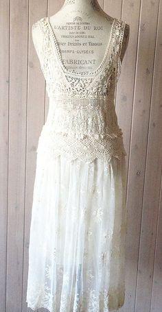 Romantic Lace and crochet Beach Bohemian Wedding dress
