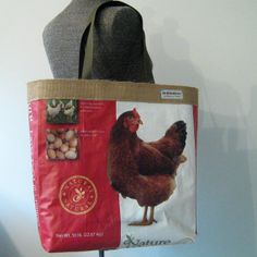 Repurposed Chicken Feed Bag Tote with jute by OneWomanStudio, $39.00 approx. 18h x 15w x 5d handle drop: 10