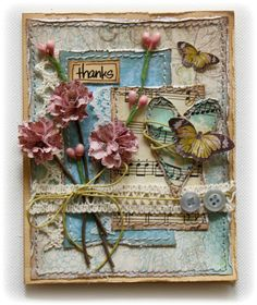 Card made with handmade blooms by Gabrielle Pollacco for #Bo Bunny design team