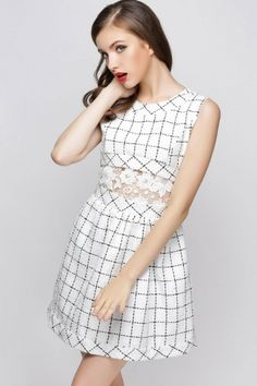 Lace-Insert Plaid Wool Dress