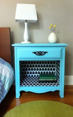 A coat of paint and some peel-and-stick paper turn a plain-Jane nightstand into a showstopper.