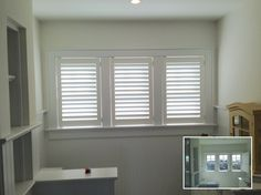 ASAP Blinds | Before and after pics of white plantation shutters in a bathroom
