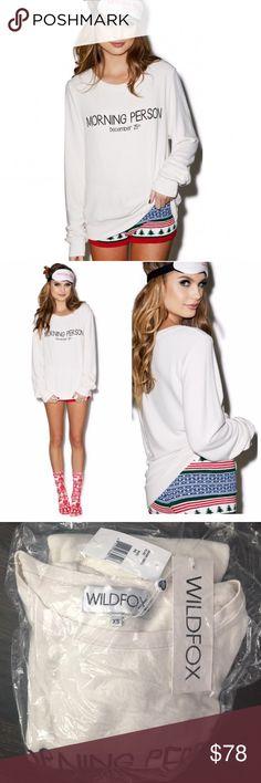 ✨NWT✨ Wildfox Morning Person White Sweatshirt BBJ NWT! Authentic Wildfox Morning Person BBJ in Vintage Lace. Size XS. ***No Trades*** Wildfox Tops Sweatshirts & Hoodies