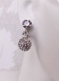 3D Ball Pierced or Clip On Earrings Pave Swarovski by dalfiya
