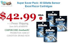 Super Saver Pack: 40 Gillette Sensor Excel Razor Cartridges Model    GSE40 You Save    64% http://www.pennywise.biz/ Offer for today only..!! Hurry Up..!!