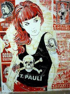 Street art:Artist wall that's located St Pauli, Hamburg Graffiti Artwork, Mural Art, Best Graffiti, Street Art Graffiti, Illustrations, Illustration Art, Fc St Pauli, Urbane Kunst, Shetland