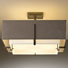 Exos Square Semi-Flushmount by Hubbardton Forge - this is handsome - avail. in many metal and shade finishes
