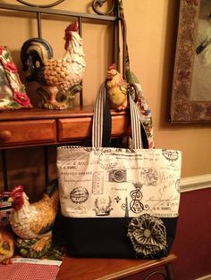 Another French market tote a client ordered. The last of my french ticking fabric. Really love the fabric in this tote.