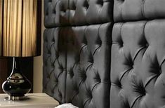 In this DIY guide, learn how to make a fabric wall panel or headboard yourself using either diamond, button, blind or biscuit tufting 3d Wall Panels, Fabric Panels, Wall Pannels, Fabric Covered Walls, Headboard Cover, How To Make Headboard, Living Room On A Budget, Living Rooms, Spa Rooms