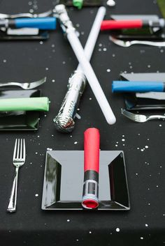 Cool table settings at a Star Wars birthday party! See more party ideas at CatchMyParty.com!