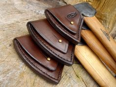 Axe sheaths Axe sheaths have a number of purposes. The first is to protect the axe head, especially the edge, Sewing Leather, Leather Pattern, Leather Craft, Axe Sheath, Knife Sheath, Leather Holster, Leather Tooling, Stitching Leather, Hand Stitching