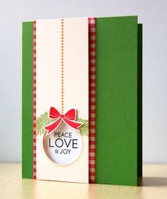 Cardstock: PTI (new leaf, vintage cream, white)  Patterned paper: The Paper Studio (red gingham)  Stamps: PTI (Bells & Boughs, Faux Ribbon)  Ink: Fresh Ink (basil, honey), Memento (tuxedo black), Colorbox (cranberry)  Other: Spellbinders circle die