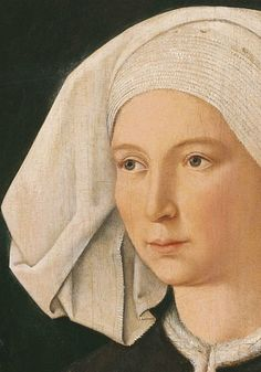 Anonymous German Artist active in Swabia ca. 1480       Portrait of a Woman      ca. 1480        Oil on panel.       50.4 x 39.2 cm   detail.    Museo Thyssen-Bornemisza, Madrid