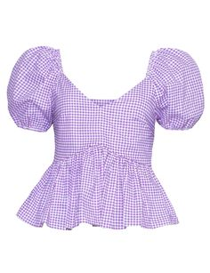Purple Plaid V-neck Ruffle Hem Puff Sleeve Chic Women Blouse Trendy Tops For Women, Blouses For Women, Dress Sewing Patterns, Clothing Patterns, Tom Tailor Denim, Modest Outfits, Polyvore Outfits, Blouse Designs, Ted Baker