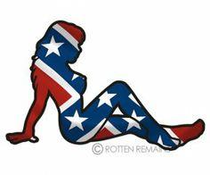 Rebel Flag Mudflap Girl