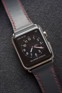 Venetian grey / bright red stitching handmade Apple watch strap Apple Watch 42mm, Apple Watch Series 2, Ipad One, Apple Watch Leather Strap, Iphones For Sale, New Apple Ipad, Iphone Price, Unlock Iphone, Used Iphone