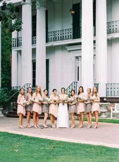 Nathan Westerfield Photography - www.nathanwesterfield.com - Nashville Wedding Photography - Film Photography - Riverwood Mansion - Rosemary & Finch - J. Crew - Free People Bridemaids Dresses - Pink Pastel - Succulent Boutonniere - Navy Suit