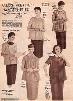 Vintage Maternity Clothes History. 1957 button down shirts and pencil skirts   #vintage #maternity