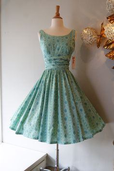 1950's Teal Patterned Cotton Fit and Flare Dress with Ruched Waist