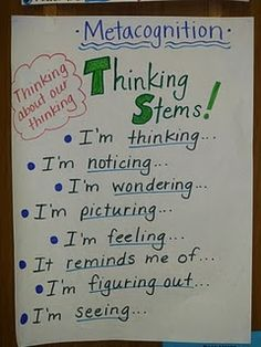 Metacognition - thinking about thinking