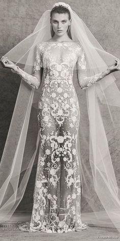 zuhair murad fall 2018 bridal long sleeves bateau neckline full embellishment elegant sexy sheath wedding dress sweep train (1) mv -- Zuhair Murad Fall 2018 Wedding Dresses #bridal #wedding #weddings