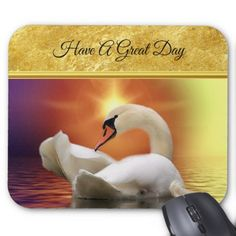 White Swan in a lake with a orange gold sunset Mouse Pad - #chic gifts diy elegant gift ideas personalize