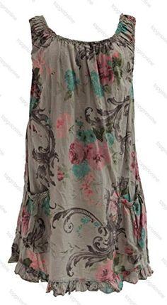 Ladies Womens Italian Lagenlook Quirky Layering Sleeveless Floral ...
