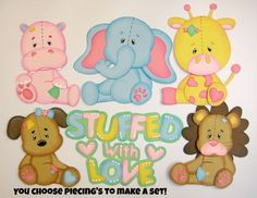 Stuffed Animal boys/girls single paper piecing YOU CHOOSE for premade scrapbook