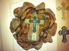 Rustic Fall wreath - rustic cross, burlap, leopard ribbon.  $100