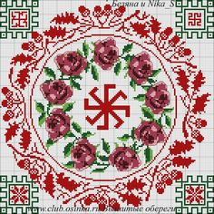 Крепкая ладная семья. В углах показаны ВАРИАНТЫ вышивки, можно свои вставлять символы по надобности.