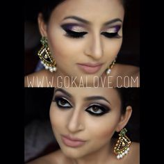 Arabic Style Makeup Gold and Purple with some Glitter! Boston Indian Pakistani Makeup Artist, South Asian Bridal, Indian Wedding, Dramatic Makeup