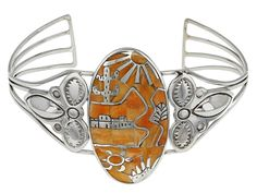 Southwest Style By Jtv(Tm)Mixed Shapes $231.96 Orange Spiny Oyster Shell Sterling Silver Inlay Cuff Bracelet