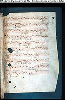 MS. Canon. Pat. Lat. 229, fols. 53-56  Polyphonic music (mass-settings, and settings of Italian and French words): eleven pieces, mostly fragmentary, by Machaut, Ciconia, Franciscus de Florentia, etc., in two bifolia from a late 14th-century Italian manuscript from the library of S. Giustina, Padua
