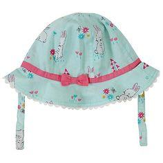 Buy John Lewis Baby Rabbit Print Sun Hat, Teal/Multi Online at johnlewis.com
