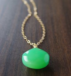 Apple green chalcedony 14k gold pendant necklace