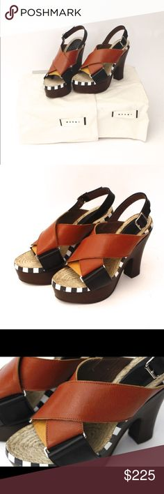 MARNI sandals new in box! Brand new, never worn. Platform Marni sandals with espadrilles style footbed. Sling back. Marni Shoes Platforms
