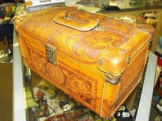 Vintage Hand Tooled Leather Train Case Cosmetic Make Up Travel Case Artmex