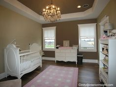 Babys Room With Pink And White Polka Dot Rug Whitewashed Crib Dressers What Little Girls