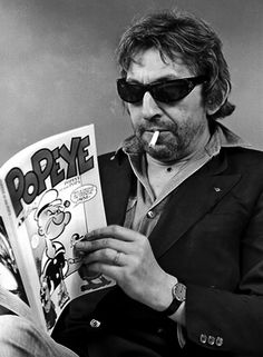 Serge Gainsbourg reading the great American philosopher Popeye the Sailor Man, Serge Gainsbourg, Gainsbourg Birkin, Kate Barry, Mad Movies, People Reading, Celebrities Reading, Popeye The Sailor Man, Lou Doillon, Jane Birkin