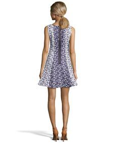 Taylor Navy And White Floral Jacquard Sleeveless Fit-And-Flare Dress