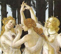 detail of Primavera (The Three Graces), Sandro Botticelli (c. 1482) present location Uffizi Gallery, Florence, Italy