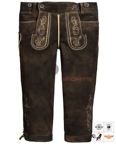 Loisachtal Trachten-Kniebundhose Braun Art. #MnS-60-0092937 Length: Knee bound (Kniebund) Material: Goat skin Buttons: Deer horn   DESCRIPTION Loisachtal Trachten-Kniebundhose made of high quality goat Leather by Moon Sports in the color maple. Classically cut, with impressive embroidery on bib, leg, knife pocket and buttocks. The Kniebundhose has two front pockets, useful belt loops and can also be regulated above the buttocks and trouser leg with leather straps in the width.....(cont'd) Lederhosen, Sport, Trousers, Pants, Legs, Leather, How To Wear, Color, Clothes
