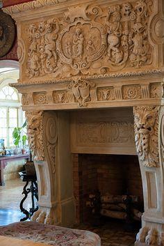 Carve limestone firplace