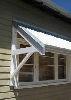 A recent installation of Timber Window Awnings in North Perth Metal Awnings For Windows, House Awnings, Timber Windows, Outdoor Window Awnings, Porch Awning, Diy Awning, Garden Awning, Porch Roof, Best Exterior Paint