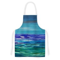 "Cyndi Steen ""Moonlit Waves"" Blue Purple Artistic Apron"