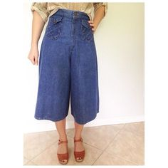 """✨ S O L D ✨Vintage H. I. S. brand high waisted jean culottes. Á la Rachel Comey. Braided front pockets. Front zip. Perfectly worn in. Seriously good stuff here- pair w clogs and a crop top! Have a bit of stretch in them. Best fits a size 4-6. Waist 14"""", hips 19"""", rise 14"""", inseam 16"""", overall length 30"""". #pennyfeathervintage #vintageetsy #vintageforsale #vintagehome #vintagedecor #vintagevignette #vintageinteriors #vintagestyling #homedecor #homeinteriors #styling #staging #interiors…"""