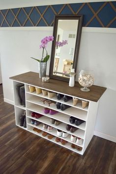 how to make a diy shoe organizer and rack for the closet this is also pretty enough to be a great addition to a room as a furniture piece