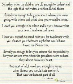Love you enough ...