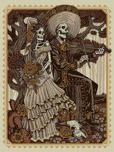 art mexicano Fiesta De Bodas by Derrick Castle Mexican Art Tattoos, Mexican Skull Art, Lettrage Chicano, Dark Art Drawings, Skull Drawings, Tattoos Realistic, Skull Illustration, Skull Artwork, Skeleton Art