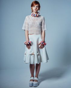 Phuang Malai SIRIPIRUN Spring/Summer16 www.siripirun.com #youngdesigner#newdesigner#womenswear#label#london#colourful#flower#floral#detail#handcrafted#springsummer16#siripirun#emboidery#detail#fabricmanipulation#lookbook#ss16#beads#accessories#choker#bangles#lasercut by siripirun